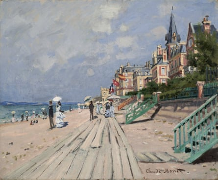 More familiar territory … The Beach at Trouville, 1870.