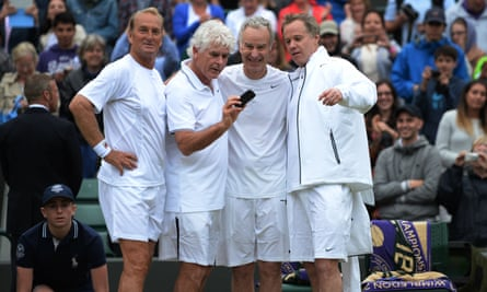Peter McNamara, left, with Paul McNamee, and John and Patrick McEnroe at Wimbledon in 2013.