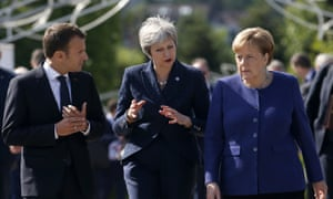 Theresa May (centre) with the German chancellor Angela and the French president Emmanuel Macron at the EU-Western Balkans summit in Sofia, Bulgaria.