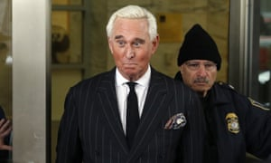 Roger Stone leaves federal court in Washington DC on 1 February.