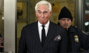 Roger Stone, the former campaign adviser for Donald Trump, leaves federal court in Washington DC on 1 February.