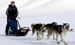 David Cameron driving a dog sled in Svalbard, Norway in 2006