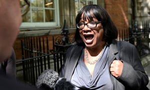Diane Abbott arrives at Millbank studios in London