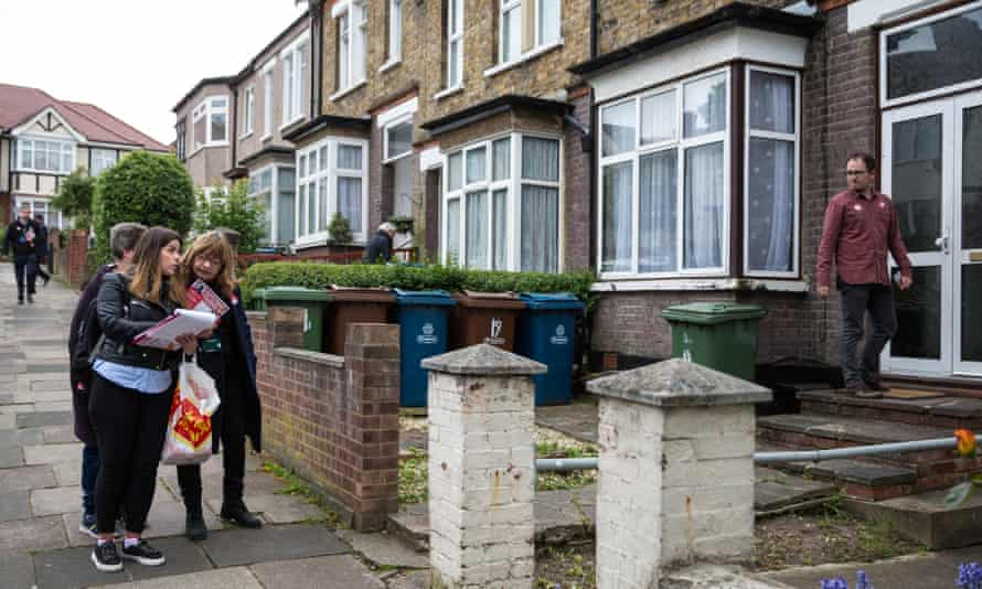 Labour Party volunteers canvas support in South Harrow, London.