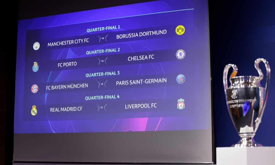 The Champions League draw on display at Uefa's headquarters in Nyon, Switzerland
