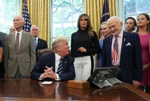Donald Trump participates in Apollo 11 50th anniversary event at the White House, talking here in the Oval Office to Buzz Aldrin, who was the second person to step onto the moon after the late Neil Armstrong. Michael Collins, who kept Apollo 11 in orbit around the moon while the Eagle traveled to the surface, is on the president's right. Trump then went on to talk about other topics, including Boris Johnson