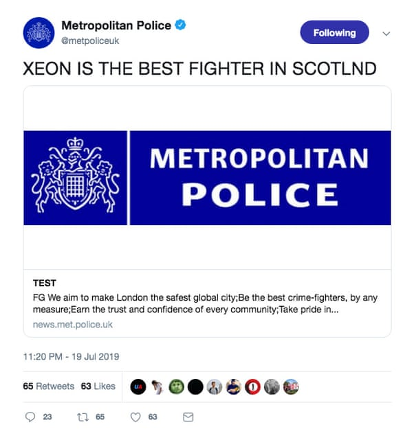 Scotland Yard's Twitter account breached in series of
