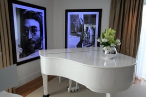 A portrait of John Lennon hangs on the wall in the Lennon Suite at the Hard Days Night hotel, Liverpool.