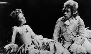 Simon Callow as Mozart and Felicity Kendal as Constanze in Amadeus, 1980.