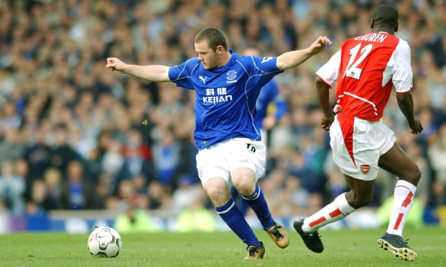Wayne Rooney prepares to unleash the shot which propelled him straight to superstardom: his first Premier League goal as a 16-year-old substitute against Arsenal in October 2002.