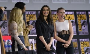 Florence Pugh, O.T. Fagbenle, Rachel Weisz and Scarlett Johansson speak on stage for the Marvel panel in Hall H of the Convention Center during Comic Con.