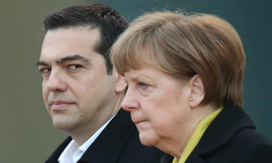 The Greek prime minister, Alexis Tsipras, with the German chancellor, Angela Merkel.