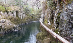 The Lledr Gorge and the 30-metre-high Craig Rhiw Goch