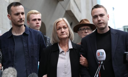 Sally Challen, flanked by her sons James (left) and David (right), leaves the Old Bailey last week after being released from jail.