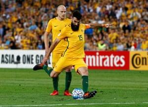 Jedinak steps up to send the Socceroos ahead 2-0.