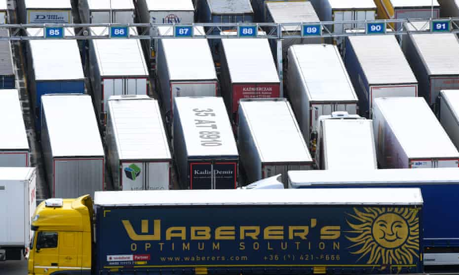 Cargo trucks in Dover are seen on their way to the EU.
