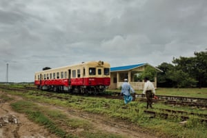 Rohingya villagers prepare to board the single wagon of the Sittwe-Zaw Pu Gyar train in Zaw Pu Gyar