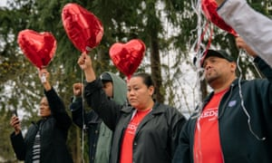 Family and friends of Alyssa McLemore, and members of the Missing and Murdered Indigenous Women movement gather at Morrill Meadows Park in Kent, Washington, on Sunday 7 April 2019.