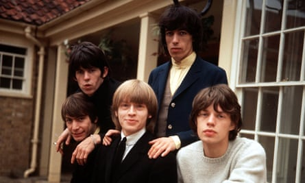 The Rolling Stones, from left to right: standing: Keith Richards and Bill Wyman. Standing: Charlie Watts, Brian Jones and Mick Jagger.
