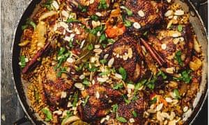 Yotam Ottolenghi's chicken with dates, saffron and freekeh.