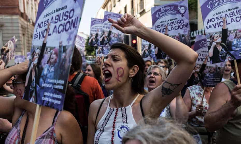 Women in Spain protest against a court's decision to release la manada gang members on bail