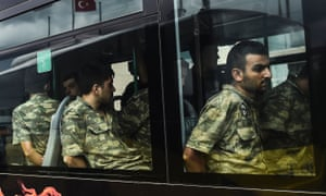 Detained Turkish soldiers who allegedly took part in the failed military coup in July 2016.
