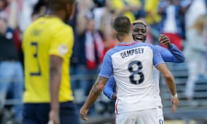 Gyasi Zardes celebrates with Clint Dempsey after USA's second goal