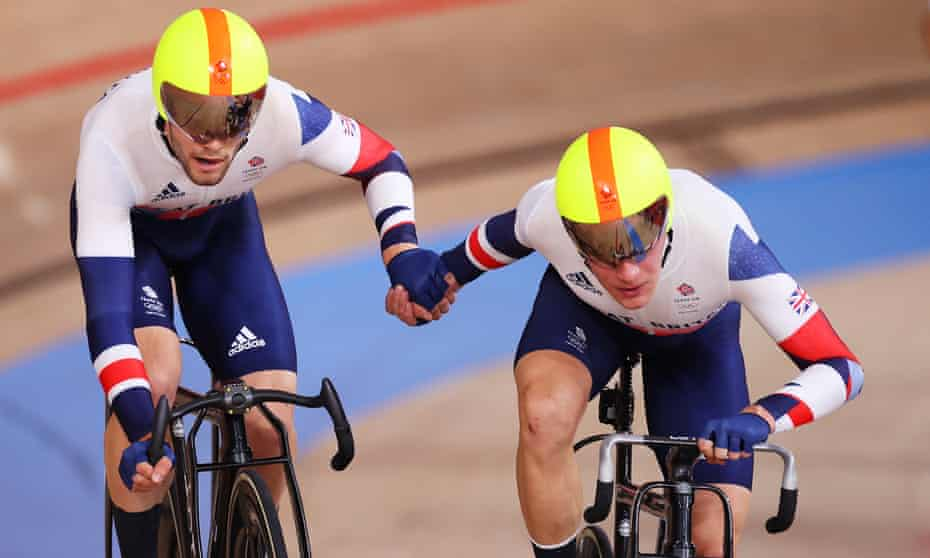 Great Britain's Matt Walls (left) and Ethan Hayter during the men's madison final.