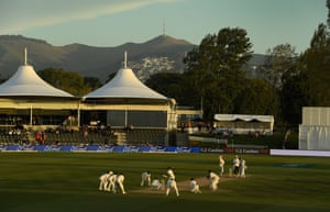 England crowd the bat with fielders as Jack Leach bowls in the closing moments at Hagley Oval.