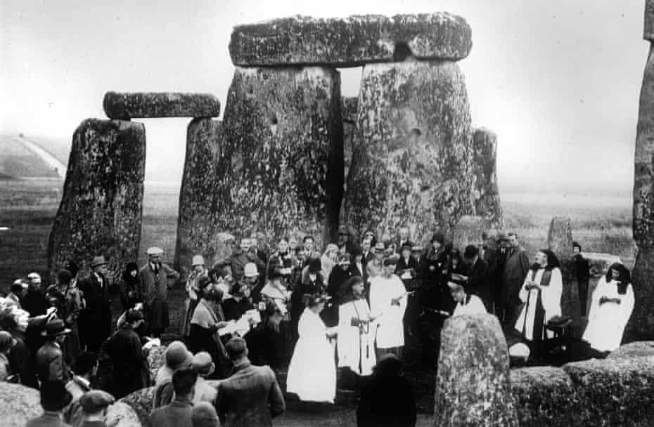 A druidic ceremony at Stonehenge circa 1923.