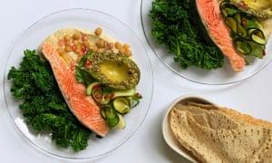 Hummus Bowl with Salmon and avocado