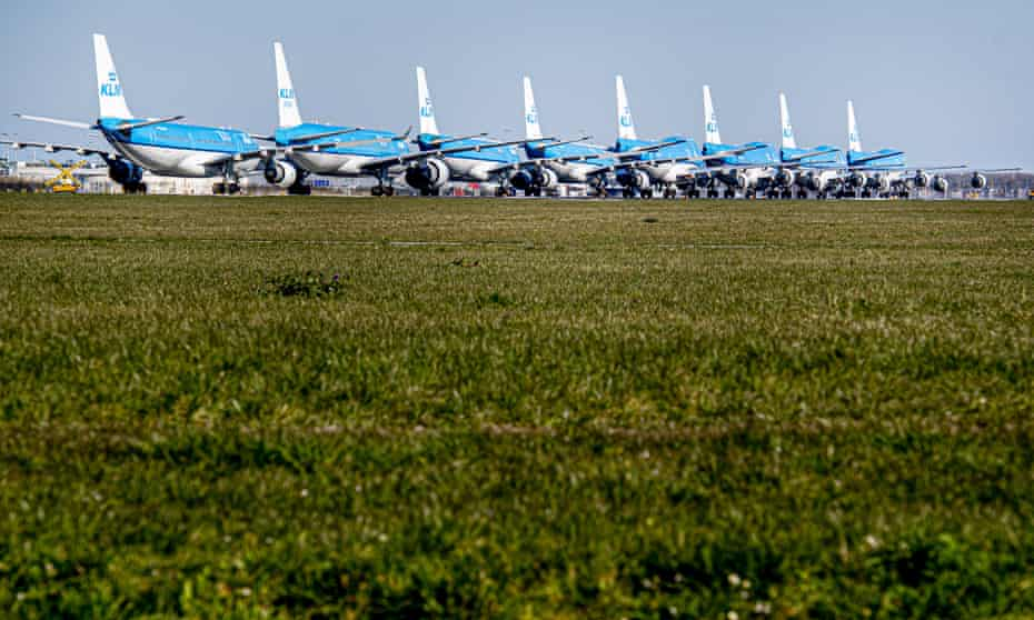 KLM planes grounded at Schiphol airport in Amsterdam, March 2020.