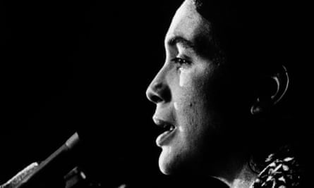 Dolores Huerta speaking in the 1970s.