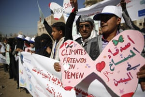 People in the city of Sana'a, Yemen, show their support