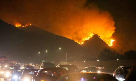 Fire burns near Getty Center in Los Angeles on 28 October 2019.
