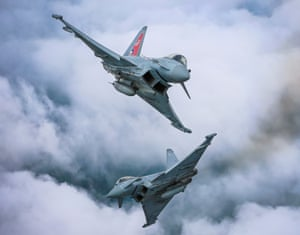 PerfectionImage of the year, third prize.  A pair of Typhoon FGR4 aircraft from the Typhoon display team. The aircraft are performing a dynamic crossover on their arrival at the RAF Cosford Air Show.