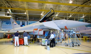 Workers build a Eurofighter Typhoon at a plant in Lancashire