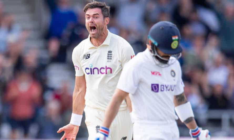 Jimmy Anderson reacts after dismissing India captain Virat Kohli for seven runs at Headingley