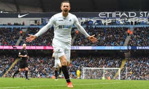 Gylfi Sigurdsson celebrates scoring for Swansea at Manchester City last season and could make his Everton debut at the Etihad Stadium on Monday night.