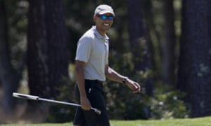 Barack ObamaPresident Barack Obama smiles after putting on the first green during a round of golf at Farm Neck Golf Course in Oak Bluffs, Mass., on Martha's Vineyard, Sunday, Aug. 7, 2016. The president and his family are vacationing in the Massachusetts island of Martha's Vineyard. (AP Photo/Manuel Balce Ceneta)