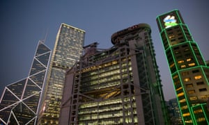 Left to right: the Bank of China Tower, the Cheung Kong Center, HSBC HQ and the Standard Chartered Bank building.
