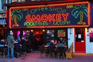 Smokey coffee shop in Rembrandtplein, Amsterdam, where marijuana consumption is legal.