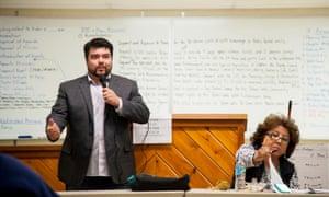 Navajo Nation Telecommunication Tour Adam Geisler of FirstNet speaks at a Tolani Lake planning meeting.