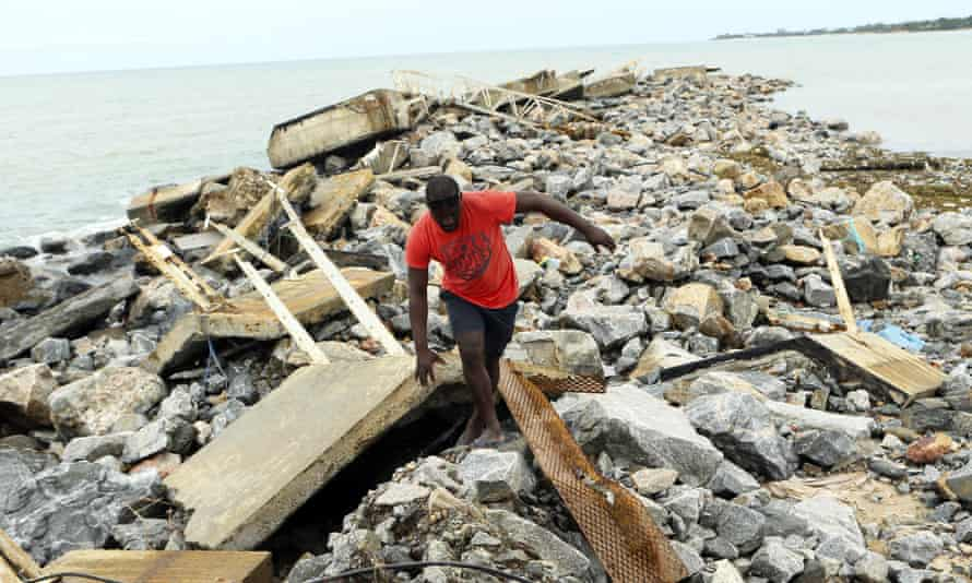 A destroyed docking bay on the coast at Pemba, Mozambique, after Cyclone Kenneth had followed Cyclone Idai in March 2019.