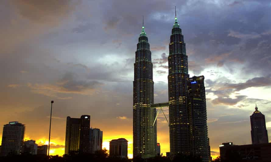 The Petronas Towers, designed by César Pelli, in 2001, when the structure was the tallest building in the world.