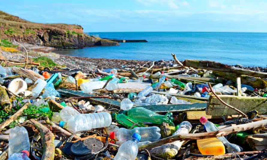 Plastic bottles and other garbage washed up on a beach in the Co Cork, Ireland