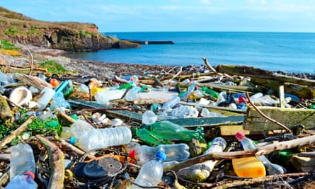 Plastic bottles and other rubbish washed up on a beach in Ireland.