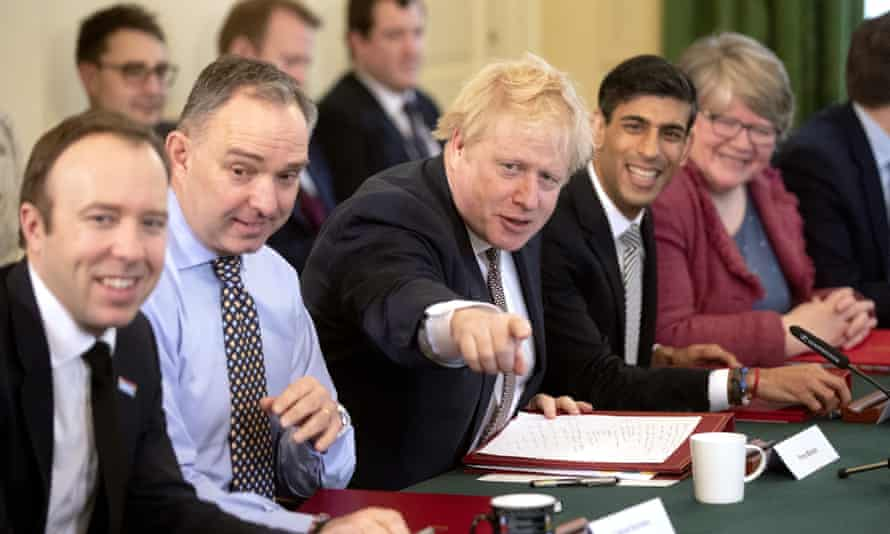 Boris Johnson with members of his new cabinet