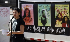 Avideh Moussavian, senior policy attorney, National Immigration Law Center, at a video installation to protest Donald Trump's ban on Muslims on 23 April in Washington, DC.