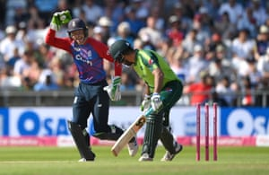 Out! Jos Buttler stumps Sohaib Maqsood.